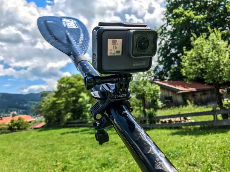 SUP-Kameraausrüstung: GoPro-Rohrhalterung (Foto: T. Pfannkuch / SUPmatrose.de)