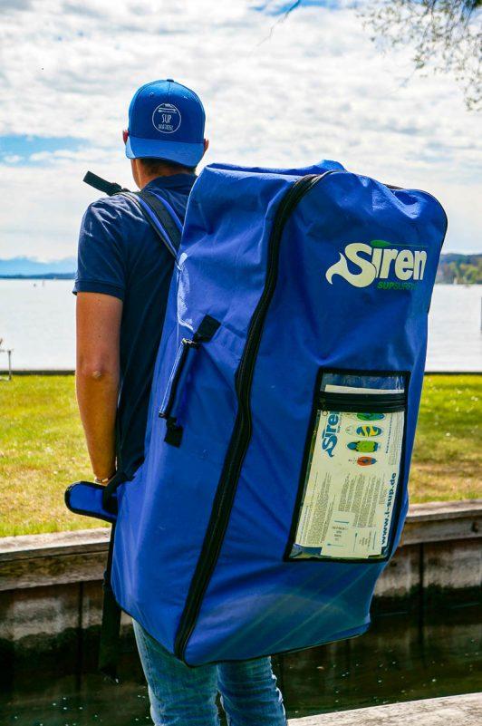 Praktisch: Rucksack für Inflatable SUP Board (Foto: Angela Frühschütz)