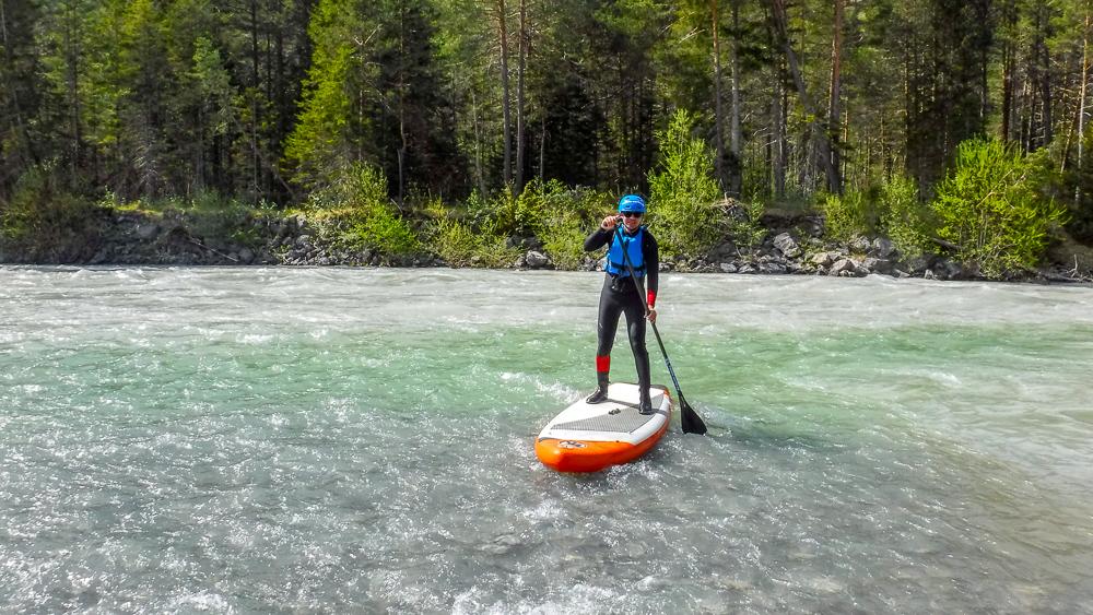 SUP-Wildwasser-Tour auf dem Tiroler Lech (Foto: B. Kuhn)
